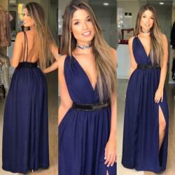 Vestido esmeral cor azul marinho
