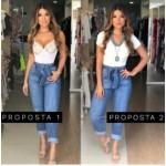 Calça jeans com cinto bar 445037