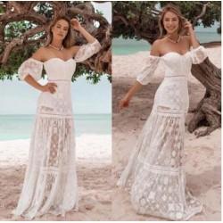Vestido longo tela bordado - 437988